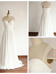 A-line Wedding Dress - Ivory Floor-length Sweetheart Chiffon