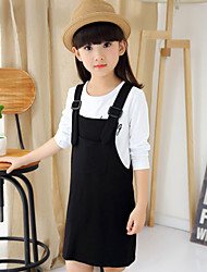 Girl's Suspender Dress Clothing Sets(Long Sleeve T-shirt & Dress)