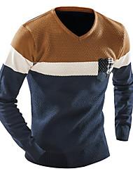 Для мужчин Повседневные Спорт Простое Активный Обычный Пуловер Контрастных цветов Пэчворк,V-образный вырез Длинный рукавЭластичное
