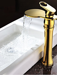 Luxury Bathroom Sink Mixer Faucet Golden Waterfall Spout Bathroom Vanity Sink Hot And Cold Water Taps With Hose