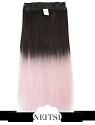 """Neitsi® 110g 22""""Full Head 5clips Kanekalon Synthetic Hair Pieces Clip In/on Straight Extensions T-Light Pink#"""