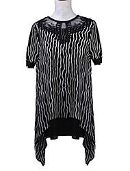 Women's Print White / Black Blouse , Round Neck Short Sleeve