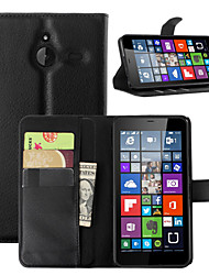 For Nokia Case Wallet / Card Holder / with Stand Case Full Body Case Solid Color Hard PU Leather NokiaNokia Lumia 730 / Nokia Lumia 640 /