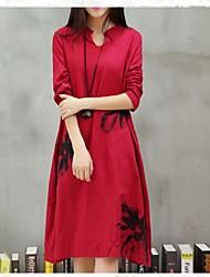 Women's Linen Coconut Tree Print Plus Size Long Sleeve Dress