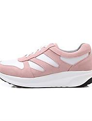 Scarpe Donna - Sneakers alla moda - Casual - Punta arrotondata - Zeppa - Scamosciato - Nero / Rosa / Grigio