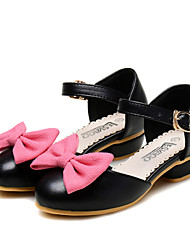 Girl's Flats Spring Fall Comfort Flower Girl Shoes Leatherette Wedding Dress Casual Party & Evening Low Heel Bowknot Hook & Loop Black