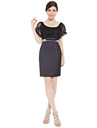 Sheath/Column Mother of the Bride Dress - Black Knee-length Chiffon