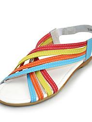 Women's Summer Comfort / Open Toe Leather Casual Flat Heel Multi-color
