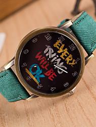 Мужской Женские Унисекс Модные часы Кварцевый PU Группа Часы с текстом