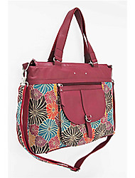 Kate@Co.® Women's Real Leather Figured Cloth Flower Print Multi-Function Handbag(12 Inch)