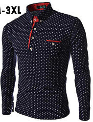 Men's White/Black/Blue Long Sleeve Shirt , Cotton Casual Plus Sizes Polka Dots