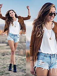 Women's 2015 New Fringed Jacket , Casual Round Long Sleeve Jnsy