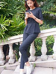 Women's Striped Black Blazer , Casual Round Neck Short Sleeve