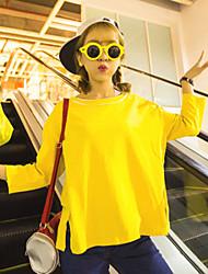 Women's Solid White / Yellow T-shirt , Round Neck ¾ Sleeve