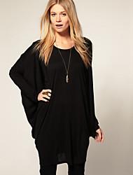 Damen Solide Einfach Lässig/Alltäglich / Übergröße T-shirt,Rundhalsausschnitt / U-Ausschnitt Frühling Langarm Schwarz / Grau Baumwolle