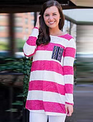 SEXY Women's Plaid Multi-color T-Shirts , Vintage / Sexy / Casual Round Long Sleeve