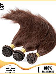 3pcs Brazilian Hair Bundles Weaves Dark Brown Silky Straight Hair Weft 100% Unprocessed Brazilian Human Hair Weft