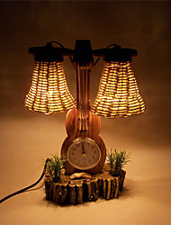 Violin With Clock Wooden Table Lamp Collectibles Home Decoration Crafts
