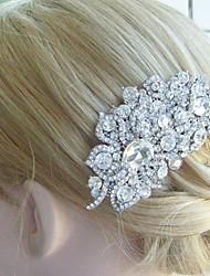 Wedding Hair Comb 4.13 Inch Silver-tone Clear Rhinestone Crystal Flower Hair Comb Bridal Hair Comb Wedding Headpiece