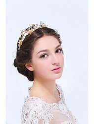 Women's Gold / Alloy Headpiece-Wedding / Special Occasion / Casual Tiaras 1 Piece Clear / Ivory