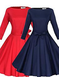 Robes ( Coton / Polyester ) Sexy Rond à Manche 3/4 pour Femme