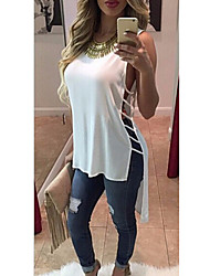SEXY Women's Color Block White / Black Tops & Blouses , Vintage / Sexy / Casual / Work Round Sleeveless