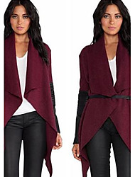 YIYI Women's Patchwork Red / Black Coats & Jackets , Sexy / Casual Crew Neck Long Sleeve