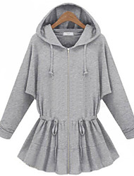 Women's Solid Gray Waisted Coat with Hoodies, Casual Long Sleeve