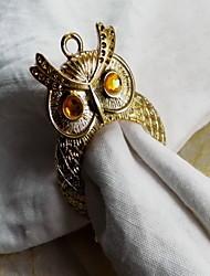 Owl Metal Napkin Ring, Iron, 1.77Inch, Set of 12