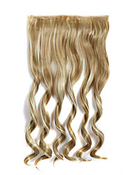 24 pulgadas de largo rizado 5 clips en extensiones de cabello falso calor sintético resistente