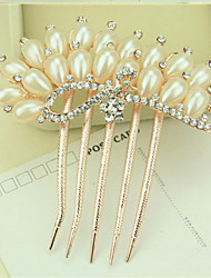 South Korea High-Grade Ornaments in Combs Hair Clasp Diamond Pearl Twist  The  Peacock Shows Its Tail