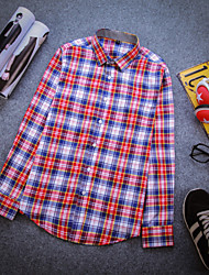 Men's Long Sleeve Cotton Casual Plaids & Checks