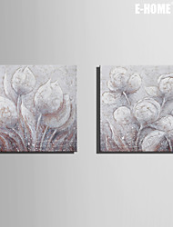 E-HOME® Stretched Canvas Art Flower Decorative Painting Set of 2