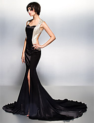 Formal Evening Dress - Black Trumpet/Mermaid Sweetheart Court Train Charmeuse