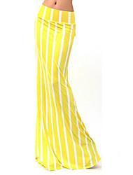 Women's Print / Striped Yellow Skirts , Vintage / Casual / Print / Maxi Maxi