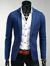 Blazer Homme,Couleur Pleine Travail Manches longues Normal Polyester
