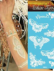 King Horse®Henna Stickers  Non Toxic/Wedding /Hawaiian/Waterproof Flower Series Paper 5pcs