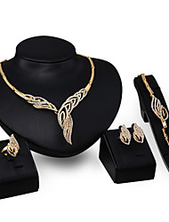 Women Wedding Jewelery Bridal Dinner Party Willow Conch Rhinestone Necklace Bracelet Rings Earrings Four - piece