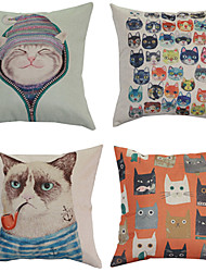 Cat Smoking A Pipe Pillowcase Sofa Home Decor Cushion Cover (17*17 inch)