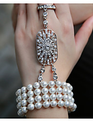 Pearl Rhinestone Elastic Bracelet & Ring Wrist Corsage for Party