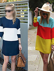 EVIN      Women's Color Block Blue / Black / Yellow Dresses , Casual Round Long Sleeve