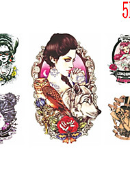 (5PCS) 2015 Latest Version High Quality Personality Waterproof One-Time Tattoo Stickers——Mirror Beauty And Skull Beauty