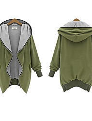 Large size Women's Solid Color Green Coats & Jackets , Casual Hoodie Long Sleeve