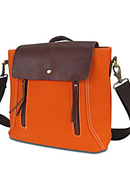 Women Bags All Seasons Cowhide Canvas Shoulder Bag with for Casual Screen Color