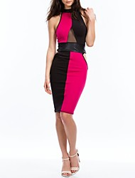 Topro Sleeveless Patchwork Bandage Dresses 9124