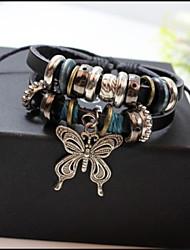 Unisex Beaded  Braided Leather Cord Bracelet