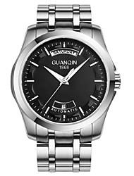 homens guanqin auto-liquidação relógio calendário da semana 100m cristal de safira à prova d'água de aço inoxidável relógio de pulso