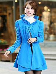 YUYI Women's Solid Color Blue / Pink / Red / Brown Coats & Jackets , Casual Stand Long Sleeve