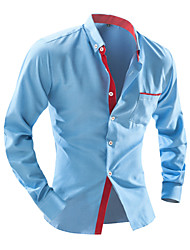 Men's Plaids / Solid Casual / Work / Formal / Sport / Plus Sizes Shirt,Cotton Blend Long Sleeve Blue / White
