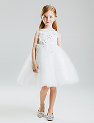 Princess Knee-length Flower Girl Dress - Lace/Satin/Tulle Sleeveless
